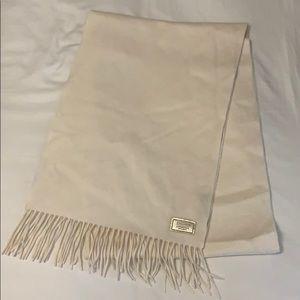 EUC Coach scarf  100% cashmere cream fringe edge